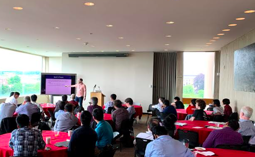 Prof Michael Dinitz, Johns Hopkins, describes 'Routing via Network Design: Overlay Routing with Dissemination Graphs' at the Workshop on Foundations of Routing in Ithaca, NY on June 19-20, 2019